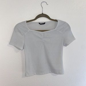 SHEIN white shirt sleeve crop top size medium